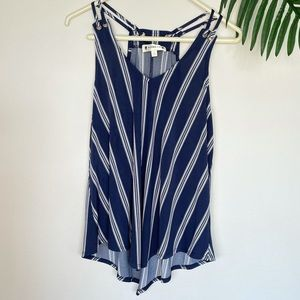 Navy pinstripe strappy tank top